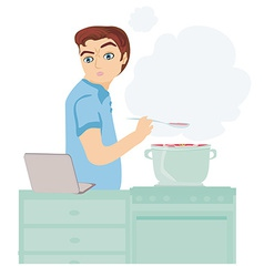 Man looking in laptop during cooking soup at home vector