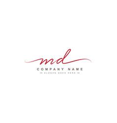 Md initial letter logo - handwritten signature vector