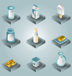 milk color gradient isometric icons vector image