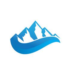 mountain 3d wave logo image vector image