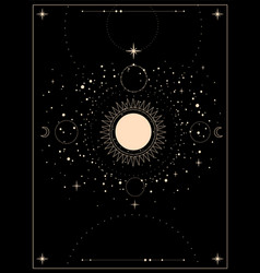 Mystical esoteric composition sun moon vector