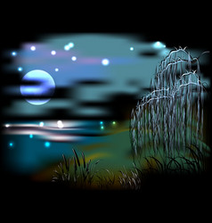 Night landscape with lake and reeds in the light vector image