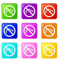 No caterpillar sign icons 9 set vector