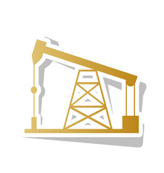 oil drilling rig sign golden gradient vector image