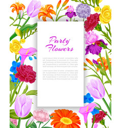party invitation with summer flowers bouquet with vector image