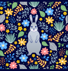 pattern with rabbit and flowers vector image