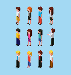 People characters avatar team cartoon isometric vector
