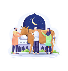People donate a cow to be sacrificed or qurban vector