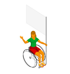Physically disabled isometric female flag bearer vector