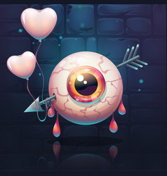 pierced eye with heart on the brick wall vector image