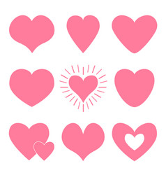 pink heart icon set happy valentines day shining vector image