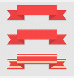 red ribbon banners on gray background vector image
