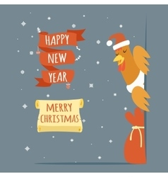 santa claus cock happy new year merry christmas vector image