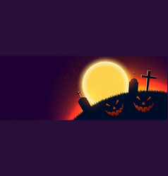 Scary halloween night scene banner with text space vector