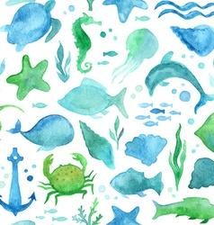 Seamless watercolor sea life pattern vector