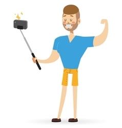 Selfie photo shot man or boy portrait vector