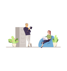 Senior boss with worker flat vector