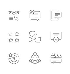 set line icons testimonials vector image