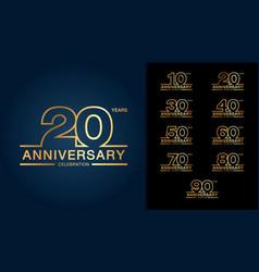 set of anniversary logotype golden anniversary vector image