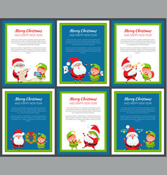 set of banners with santa claus and pretty elf vector image