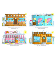 Set of exteriors of little cute cafe buildings on vector