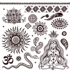 Set of ornamental Indian elements and symbols vector image