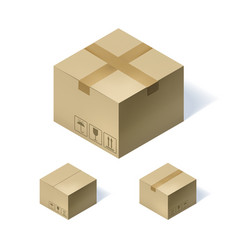 Set of three isometric cardboard boxes isolated on vector