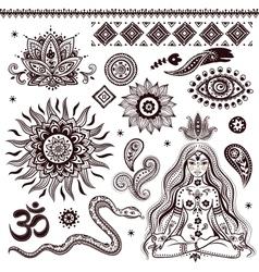 set ornamental indian elements and symbols vector image