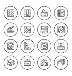 Set round line icons floor vector