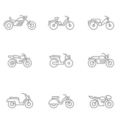 Set with different types of motorcycles and mopeds vector