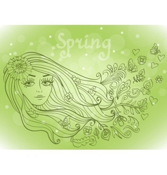 Spring girl portrait with blooming flowers vector image