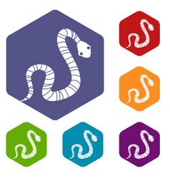 Striped snake icons set hexagon vector