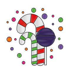 Sweet candy canes mint and lollipop vector