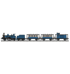 The vintage blue steam train vector