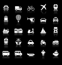transportation icons with reflect on black vector image