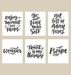 Travel adventures hand written lettering quotes vector