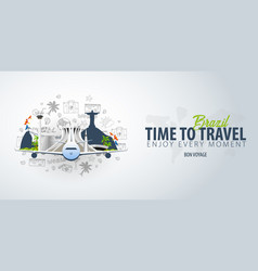 travel to brazil time to travel banner with vector image