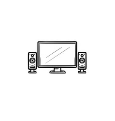 tv home theater hand drawn outline doodle icon vector image