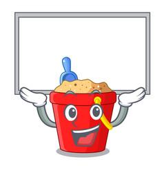 Up board beach bucket shape with sand cartoon vector