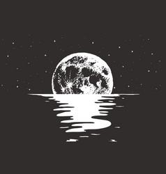 View to full moon at night sea vector