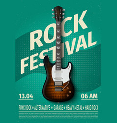 Vintage rock festival flyer with electric guitar vector