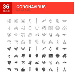 virus line web glyph icons vector image