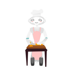 Wheeled robot in chef hat and apron cooking food vector