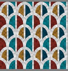 White arch mosaic seamless pattern in antique vector