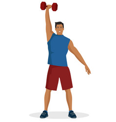young guy doing workout using dumbbell lifting vector image