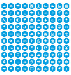 100 view icons set blue vector image vector image
