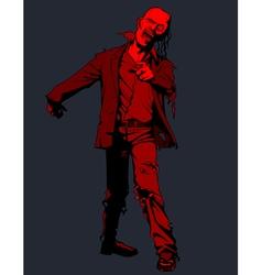 cartoon red walking zombie vector image
