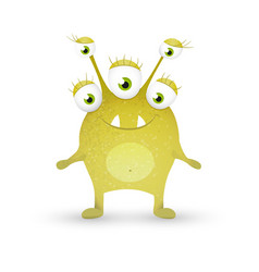 cute green monster vector image