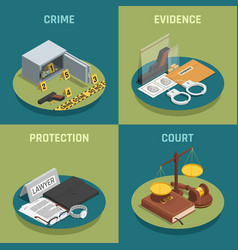 law justice concept isometric icons vector image