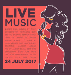 Live music show image of woman singer vector